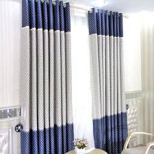 Clearance Blue/White Poly/Cotton Blackout Star Curtains