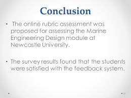 conclusion the rubric sment was proposed for sing the marine engineering design module at newcastle