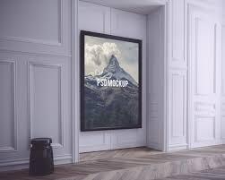 black frame on white wall mock up free psd