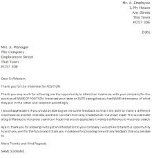 Job Rejection Letter After Interview Uk 29 Follow Up Example