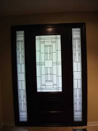 custom doors fiberglass single front door stained glass with 2 side lites installed by toronto front entry doors in oshawa inside view 426 front entry