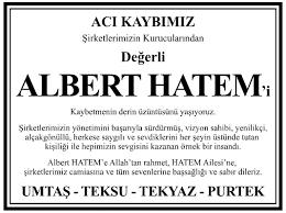 Albert Hatem Vefat İlanı - Umtaş - Teksu - Tekyaz - Purtek