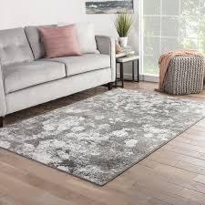 Mondrian Abstract Gray White Area Rug 76 x 96 76 x 96