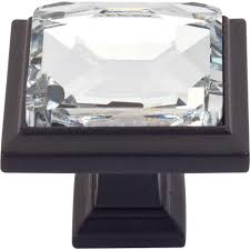 crystal furniture knobs. Atlas Homewares Legacy Crystal Collection 1-1/4 In. Matte Black Square Cabinet Furniture Knobs