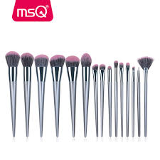 msq 15pcs makeup brush set high quality natural synthetic hair for foundation eyeliner blusher lip