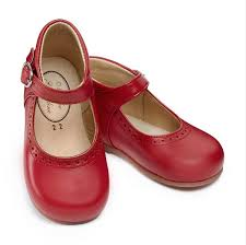 red leather shoes for girls with buckle