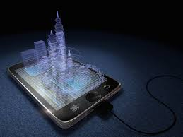 future technology in mobile phones. picture of buildings coming out a cell phone, showing the future phone technology in mobile phones n
