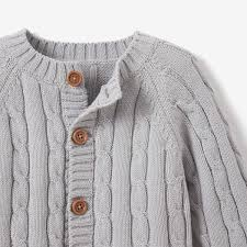 Gray Cotton Cable <b>Knit Baby Sweater</b> – Elegant <b>Baby</b>