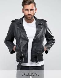 reclaimed vintage inspired leather biker jacket in black b42c7 for men