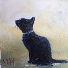 oil paintings of a black cat bath time 2018 y hess