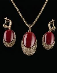 unique red stone antique jewelry set high quality opal pendant necklace and earrings
