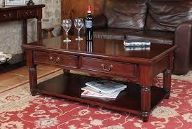 mahogany coffee table. La Roque Mahogany Coffee Table With Drawers