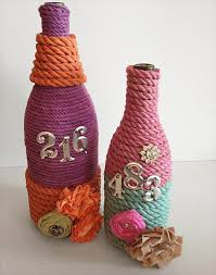 simple glass bottles decor with rope