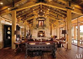 Log Cabin Living Room Inspiration Iron Round Candle Chandelier Hang On Wood Plafond Over Antique
