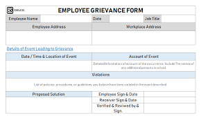 Form For Employee Employee Grievance Form Grievance Examples Templates