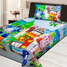 bed sheets for kids. Cartoon Character Printed Single Bedsheet - Multi Bed Sheets For Kids O