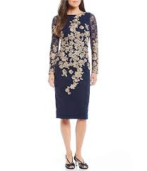 Xscape Embroidered Floral Lace Sheath Dress