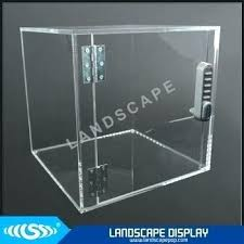 acrylic countertop display case w 3 shelves and sliding locking doors rotating clear cabinet s