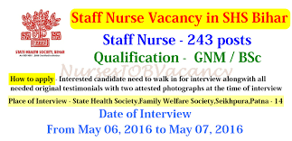nurses job vacancy anm staff nurse vacancy in shs bihar  state health society shs bihar has invited application for recruitment of the auxiliary nurse midwife anm staff nurse posts by walk in interview