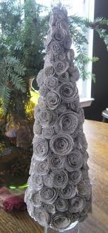 Paper Flower Christmas Tree Diy Faux Curled Rosewood Wreath Made From Rolled Recycled Book