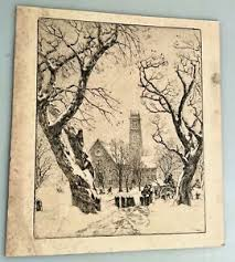 Original Ivan Summers Etching Engraving Print Winter Snowy Landscape Church  | eBay