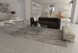 patchwork cowhide rug stripes design in white gray and beige modern living room