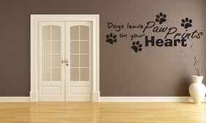 dogs leave paw prints on your heart vinyl wall art decals sticker j177 com