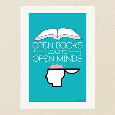 open books lead to open minds a minimalist educational art print from poster envy