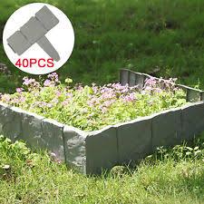 garden edging stone. 40X Grey Garden Edging Cobbled Stone Effects Plastic Plant Hammer Lawn Palisade N