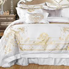 whole luxury white egyptian cotton designer bedding set golden embroidered king queen size bed sheet set duvet cover bedding sets duvet insert linen