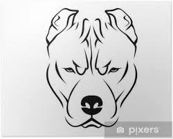 Poster Dog Breed Line Art Logo Pit Bull Pixers We Leven Om Te