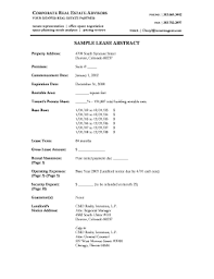 Fillable Online Sample Lease Abstract Corporate Real