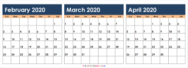 Download February March April 2020 Calendar Colorful 2020