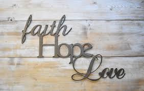 Word Signs Wall Decor Metal Sign Faith Hope Love Word Sign Farmhouse Decor 3