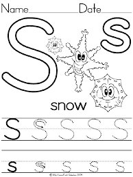 Alphabet Letter S Snow Standard Block Manuscript Handwriting ...