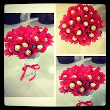 Ferrero Rocher Bouquet Designs Ferrero Rocher Chocolate Bouquet Red Flowers With White