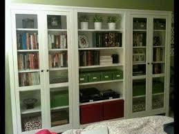 white bookshelf with glass doors you