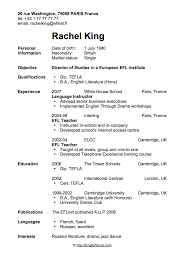 resume templates english