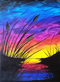 Painting Canvas Sunset And Cattails Reboot Step By Step Acrylic Painting On Canvas