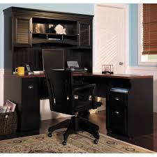 furniture home office desk with hutch painted with black color with drawer and office chairs for small home office spaces white white and light blue wall