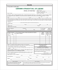 Blank Bill Of Lading Forms Sample Bill Of Lading Form 8 Best Images Of Master Bill