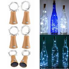 Solar Powered Wine Bottle Lights Cork 10 Led Bottle Cork Fairy String Lights Diy Mini Copper Wire 6 Pack White Solar Lights Christmas Halloween