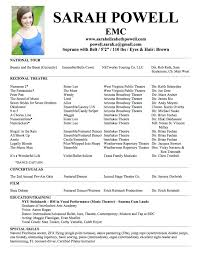 Musical Theatre Resume Magnificent Samplel Theatre Resume Template Fair Samples On Of 2