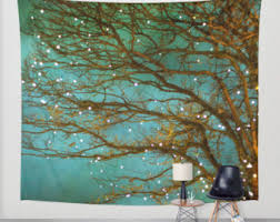 high quality woodland wall tapestry forest tapestry woodland forest green tree tree tapestry magical green teal branches in the woods on tapestry art designs wall hangings with tree tapestry etsy