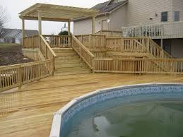 image of above ground pool stairs wood