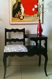 Vintage Telephone Gossip Bench Mahogany Needlepoint Seat Nice Home Telephone Bench Seat