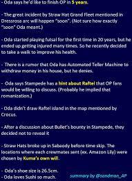 """Oda said he'd like to finish OP in <b>5</b> years"" - <b>OnePiece</b>"