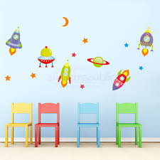 moon stars and spaceship wall decals