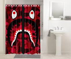 bape bathing ape camo sharks 1713 shower curtain waterproof