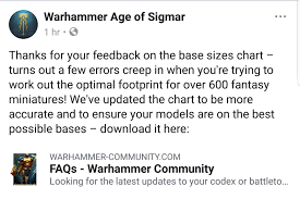 Games Workshop Base Size Chart Age Of Sigmar Recommended Base Sizes Revised Sprues Brews